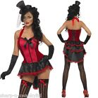 Ladies Sexy Red & Black Burlesque Can Can Girl Hen Do Fancy Dress Costume Outfit