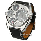 OUML Army Dual Time Zone Compass Stainless Sport Quartz Expedition Leather Watch