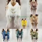 Fashion Sexy Women Triangle Casual Scarf Shawl Wrap Lace Trim Tassel Many Colors