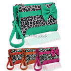 Women Bowknot Handbag Shoulder Bag zipper Clutch Bag Leopard Grain Wallet N4U8