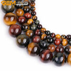 Natural Gemstone Multicolor Tiger's Eye Stone Loose Beads For Jewelry Making 15""