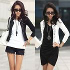 Women Fashion Handmade Rivets No Button Long Sleeve Short Slim OL Jacket Suit