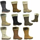 WOMENS FAUX FUR LINED QUILTED LADIES GRIP SOLE WINTER CALF BOOTS SHOES SIZE 3-8