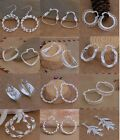 Ladys/Women 925Sterling Silver Charm 12 style Hoop Drop earrings Gift Newjewelry