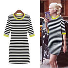 Womens Stripes Half Sleeve Round Neck Slim Dress Round Neck Pencil Dress