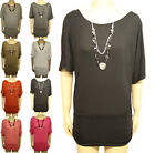 New Ladies Batwing Stretch Necklace Womens Ruched Short Sleeve Long Top 8-14