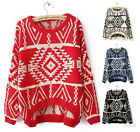 2013 Womens Loose Casual Knitted Geometric Pattern Sweater Outwear Pullover Tops