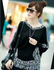 Womens loose Batting style fringed cape Knit blouse sweater Top Coat Black/white