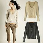 New Cardigan Classical Knitwear Jumper Pullover V Neck With Buttons Coat Tops Z