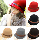 Fashion Vintage Women Ladies Fedora Dome Felt Hat Headwear Bucket Hat New