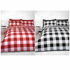GINGHAM CHECK DUVET COVER - Cotton Blend Reversible Bedding Quilt Cover Bed Set