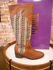 Twiggy London Cognac Brown Leather Western Boots New