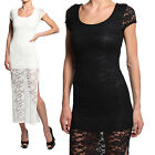 MOGAN Short Sleeve Floral LACE Contrast Round Neck MAXI Layered Sexy LONG DRESS