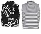 Primark Stripe High Neck Cropped Top Retro T Shirt Top Tee Vest Festival Kitsch