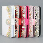 Wallet Bling Flower Flip Leather Case Cover For Samsung Galaxy Note 2 II N7100