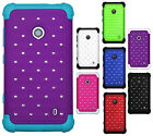 For Nokia Lumia 521 HYBRID IMPACT Dazzling Diamond Two Layered Phone Case Cover