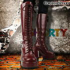 New Chunky Heel Gothic Round Toe Platform Zip Up Cosplayer Knee High Boots Brown