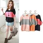 Hot Women Ladies Striped Dolman Batwing Short Sleeve Casual Blouse Tops T-shirt