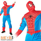 Deluxe Muscle Spiderman Mens Superhero Fancy Dress Spider-Man Costume Outfit