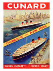 Cunard Cherbourg To New York Travel Print - Framed And Memo Board Available