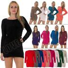 New Womens Ladies Boat Neck Fluffy Furry Winter Jumper Dress Size 8 10 12 14