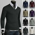 Mens Stylish Slim Fit BASIC Casual V-Neck Knitwear Shirts (8 Colors, UK size)