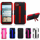 For HTC First Perforated Kickstand Hybrid Silicone Rubber Skin Case Cover