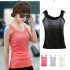 New Women Sequin Lace Tank Top Sleeveless T-Shirt Vest Waistcoat Sling Camisole