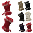 G26 LADIES WOOL SUEDE FINGERLESS MITTEN GLOVE FAKE FUR TRIM STRING FASTEN GLOVE