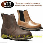 V12 Rawhide Stampede Dealer Slip On Chelsea Safety Leather Boot Steel Toe Cap