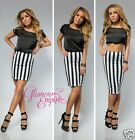 "Bodycon Stretch Lined Skirt Black White Stripes 3 lengths 16"" 19"" 24"" UK8-14 776"