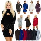 New Womens Ladies Plain Turtle Neck Keyhole Bodycon Jumper Dress Size 8 10 12 14