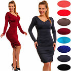 Sexy Stretchy Bodycon Ruched  V Neck Dress Long Sleeve Sizes UK 10-18   886