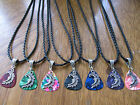 """Tibetan Silver Celestial Moon Guitar Pick Necklace w/ Your choice of Color 18"""""""