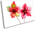 Red Flowers Watercolour Floral SINGLE CANVAS WALL ART Picture Print VA