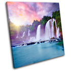 Waterfall Sunrise Landscapes SINGLE CANVAS WALL ART Picture Print VA