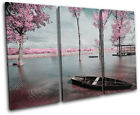 Tree Blossom Pink Sunset Seascape TREBLE CANVAS WALL ART Picture Print VA