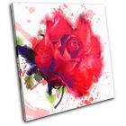 Red Roses Watercolour Floral SINGLE CANVAS WALL ART Picture Print VA