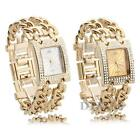 Women Wristwatch Watch Chain Bracelet Analog Crystal Dial Gold Fashion