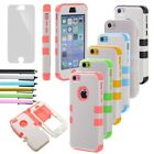 For iPhone 5C C Heavy Duty Case Black Hybrid Rugged Hard Cover Screen Protector