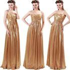 Sexy Sweetheart Golden Formal Wedding Ball Gown Evening Prom Party Long Dress