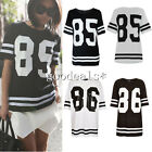 Womens Ladies 85 86 Varsity T-shirt American Football Baseball Jersey Top S-XL