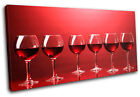 Wineglass red Food Kitchen SINGLE CANVAS WALL ART Picture Print VA