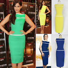 New Womens Crew Neck Pinup Rockabilly Bodycon Business Party Pencil Wiggle Dress