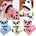 Hot Toddler Infant Boy Girl Baby Kid Xmas Warm Panda Head Cap Beanie Scarf hat