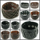 UH062 Punk Weave Pattern Gothic Leather Men/Women Button Wristband Cuff Bracelet