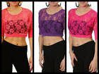 SEXY SOFT LACE See Thru CROPPED SHIRT Club CROP TOP S/M/L Coral/Purple/Hot Pink
