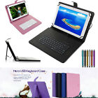 Leather Folio Case Cover USB Keyboard for 10 10.1 10.2 Tablet w / Stylus