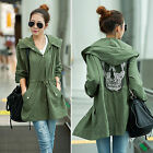 Women Retro Military Coat Skull Back Parka Autumn Button Trench Hooded Jacket