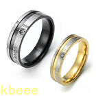 Black Gold Stainless Steel Couple Wedding Bands Womens Mens Promise Love U Ring
